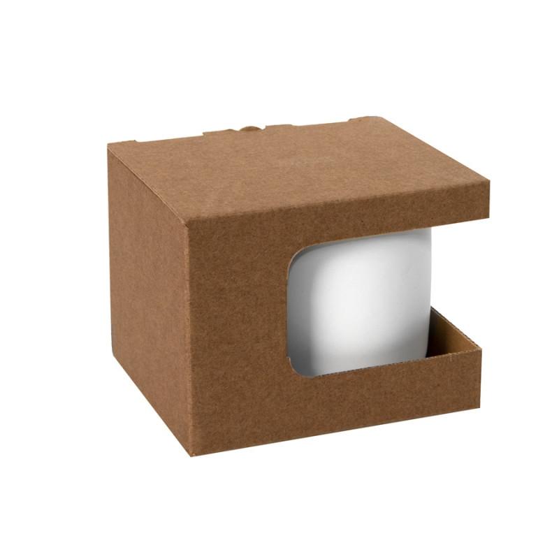 Коробка для кружек 23504, 26701, размер 12,3х10,0х9,2 см, микрогофрокартон, коричневый, коричневый, , 21043 - фото 1