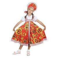 Русский народный костюм 'Хохлома красная', платье, кокошник, р. 30, рост 110-116 см