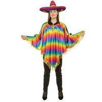 Карнавальный костюм 'Мексиканское пончо', туника, радужные горизонтальные полосы с золотой бахромой