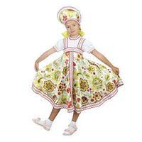 Русский народный костюм 'Хохлома белая', платье, кокошник, р. 32, рост 122-128 см
