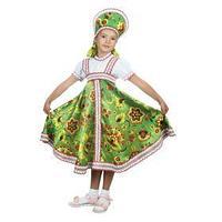 Русский народный костюм 'Хохлома зелёная', платье, кокошник, р. 34, рост 134 см