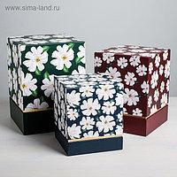 Набор подарочных коробок 3 в 1 «Цветы», 17 × 14 × 14 25 × 18 × 18 см