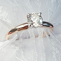 Сертификат GIA 0,56Сt SI1/M Good-Cut Золотое 585 пр. кольцо с бриллиантом, фото 1