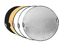Отражатель (лайт - диск)  С ручкой! 110 см 5 в 1 - золото, серебро, белый, чёрный, рассеиватель, фото 2
