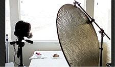 Отражатель (лайт - диск)  С ручкой! 110 см 5 в 1 - золото, серебро, белый, чёрный, рассеиватель, фото 3