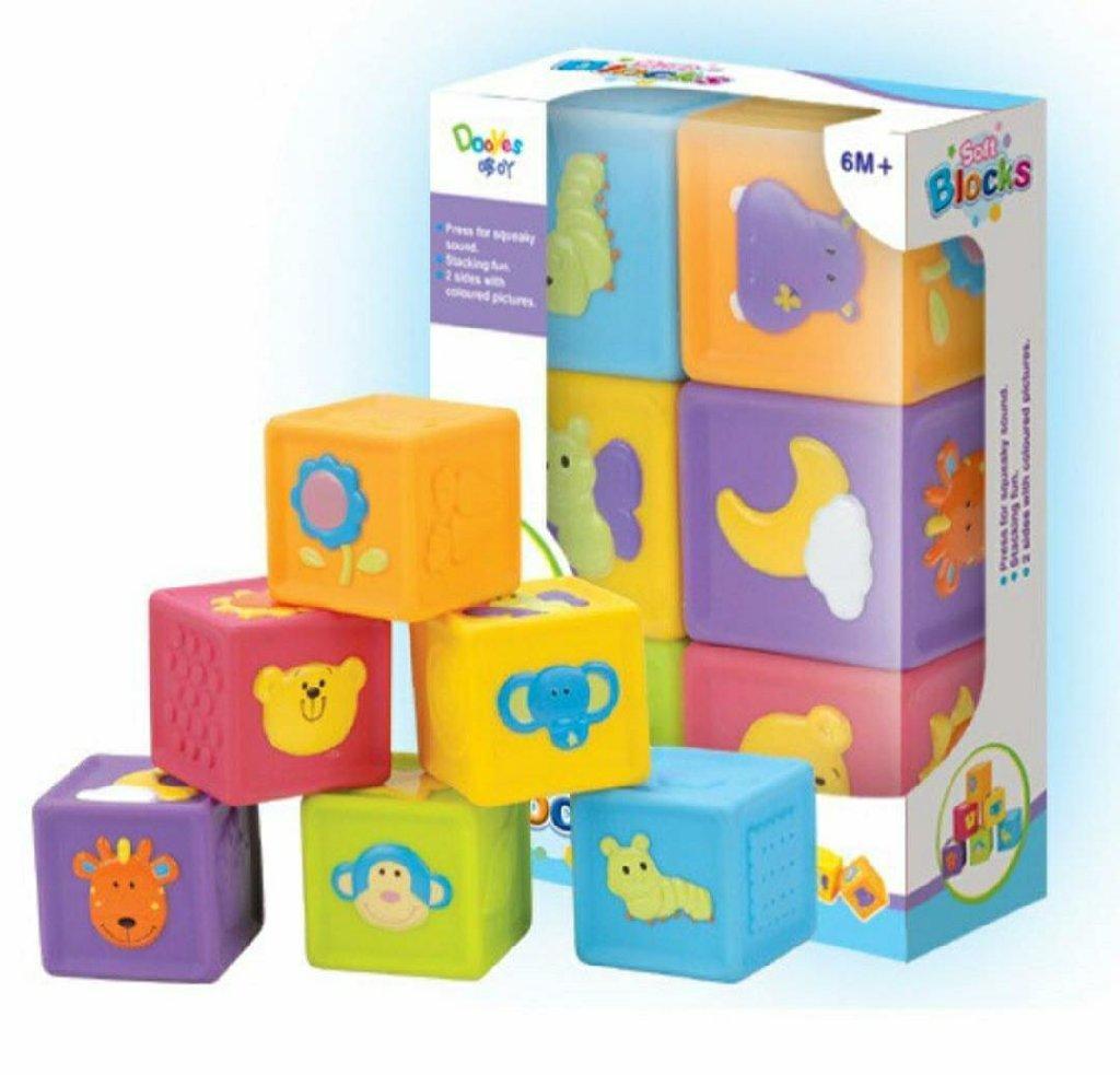 JM99-390  Кубики резиновые с рис животных Soft blocks 22*17см