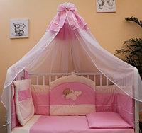 Комплект в кроватку БАЛУ МИШУТКА розовый балд. 4,5м борт 3-х сторон карман, 8 предметов