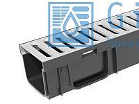 Лоток водоотводный пластиковый Gidrolica Light ЛВ -10.11,5.9,5-  с решеткой стальной Гидролика Лайт