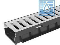 Лоток водоотводный пластиковый Gidrolica Light ЛВ -10.11,5.5,5- с решеткой стальной Гидролика Лайт