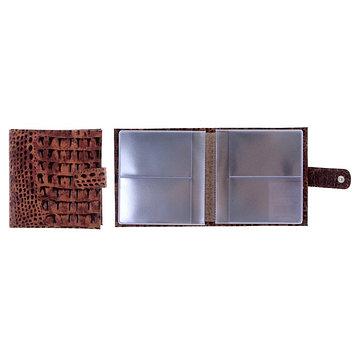 Визитница, 2 ряда, 16 листов, цвет коричневый