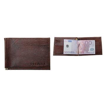 Зажим для купюр, 1 отдел для кредитных карт, цвет коричневый