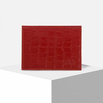 Обложка для автодокументов, цвет красный крокодил крупный