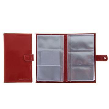 Визитница, 3 ряда, 24 листа, цвет красный