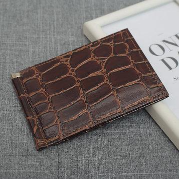 Зажим для купюр, 2 внутренних кармана, 6 карманов для кредитных карт, цвет коричневый