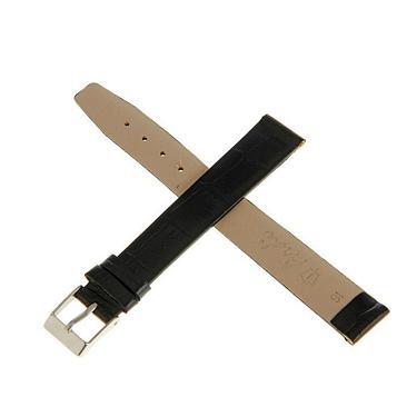 Ремешок для часов, мужской, 16 мм, черный, фактура крокодил, удлиненный