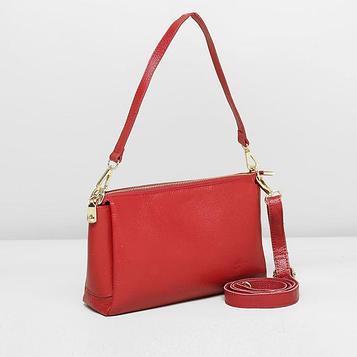 Сумка женская на молнии, 3 отдела, наружный карман, регулируемый ремень, цвет красный