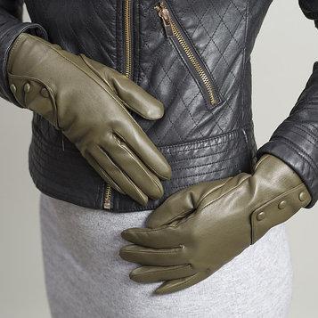Перчатки женские, размер 8, с подкладом, цвет зелёный