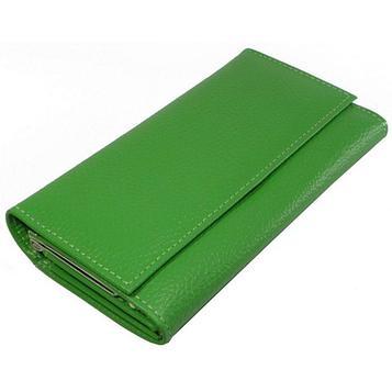 Кошелёк женский на кнопке, 2 отдела для купюр, для кредитных карт, для монет, цвет зелёный