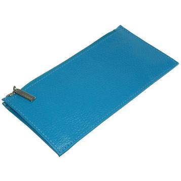 Кошелёк женский на молнии, 1 отдел для купюр, для кредитных карт, внешний карман, цвет голубой