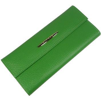 Кошелёк женский на кнопке, 2 отдела для купюр, для монет, для кредитных карт, цвет зелёный