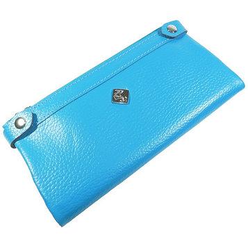 Кошелёк женский, 2 отдела для купюр, для монет, для кредитных карт, цвет голубой