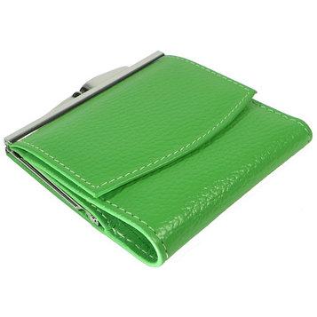Кошелёк женский на кнопке раскладной,1 отдел для купюр, для монет, для кредитных карт, цвет зелёный