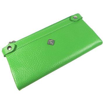 Кошелёк женский, 2 отдела для купюр, для монет, для кредитных карт, цвет зелёный