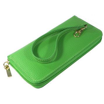 Кошелёк женский на молнии, 3 отдела для купюр, для монет, для кредитных карт, цвет зелёный