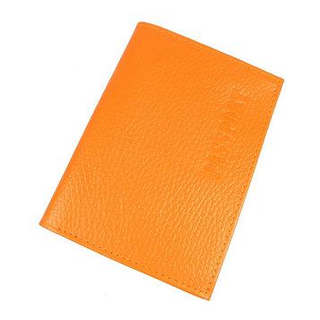 Обложка для паспорта, отдел для купюр, цвет оранжевый