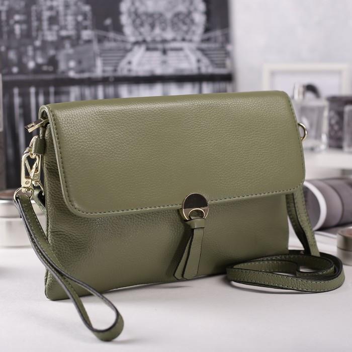 Сумка женская, отдел с перегородкой на молнии, наружный карман, с ручкой, длинный ремень, цвет зелёный