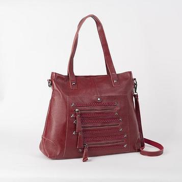 Сумка женская на молнии, отдел с перегородкой, 2 наружных кармана, длинный ремень, цвет красный