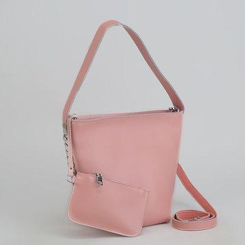 Сумка женская, отдел с перегородкой, длинный ремень, с кошельком, цвет розовый