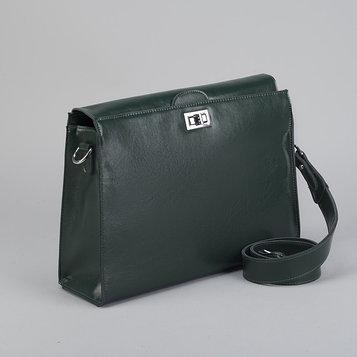 Портфель на замке, наружный карман, длинный ремень, цвет зелёный