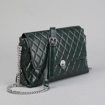 Сумка женская, отдел с перегородкой на молнии, наружный карман, длинная цепь, цвет зелёный