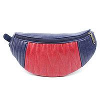 Сумка женская поясная, наружный карман, бордовый/синий крек