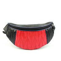 Сумка женская поясная, наружный карман, чёрный/красный крек