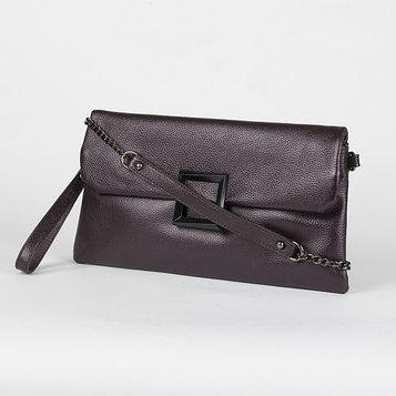 Клатч женский, отдел на молнии, наружный карман, с ручкой, длинная цепь, цвет коричневый