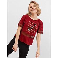 Футболка женская, цвет бордовый/печать, размер 42 (XS)
