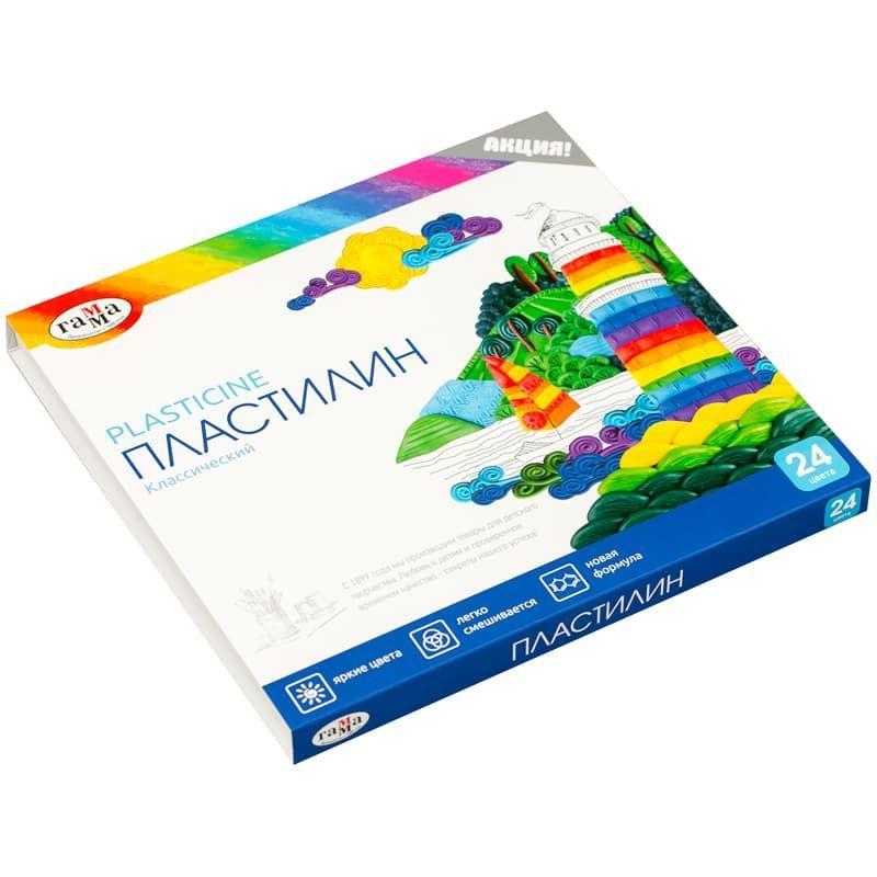 "Пластилин Гамма ""Классический"", 24 цвета, со стеком, картон"