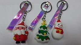 Брелок на ключь снеговик, дед мороз, елка