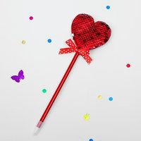 Ручка сердце с паетками красными