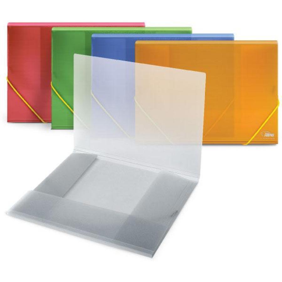 Папка для бумаг с резинками РР А4, прозр.-синий