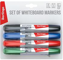 Маркер Berlingo для магнитно-маркерных досок НАБОР 4 цвета в блистере закругленный пишущий узел 2мм