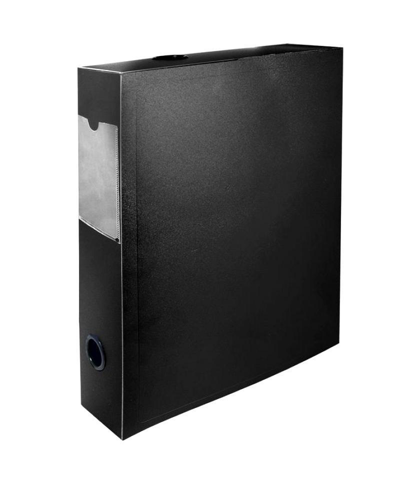 Короб архивный 55мм пластик на кнопке черный 255079-01