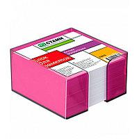 Блок бумаги для записи 9х9х5, белый, в пластбоксе фиолетовый Слива, СТАММ