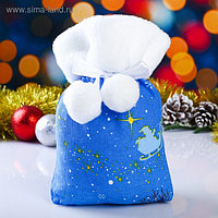 Мешок новогодний с мехом,  22х27 см