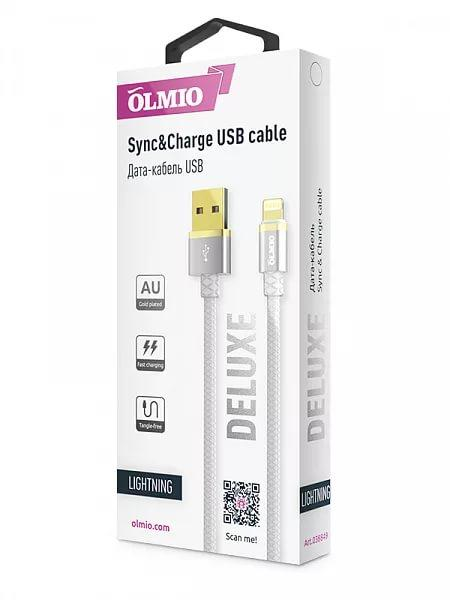 Кабель OLMIO DELUXE, USB 2.0 - lightning, 1м, 2.1A, белый