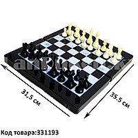 Шахматы, шашки, нарды 3 в 1 мраморный Gurng Ying 8899 35,5х31,5 см