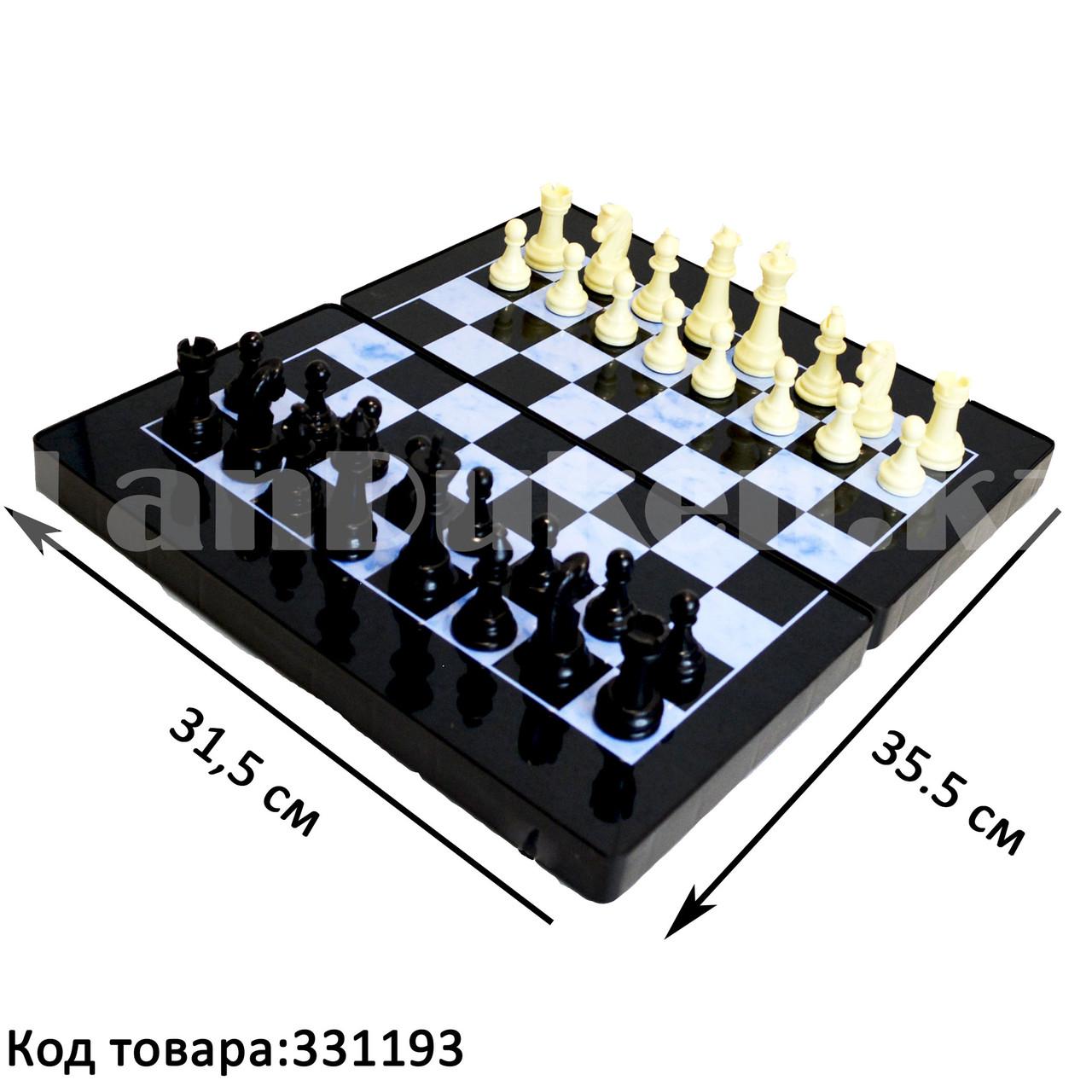 Шахматы, шашки, нарды 3 в 1 мраморный Gurng Ying 8899 35,5х31,5 см - фото 1