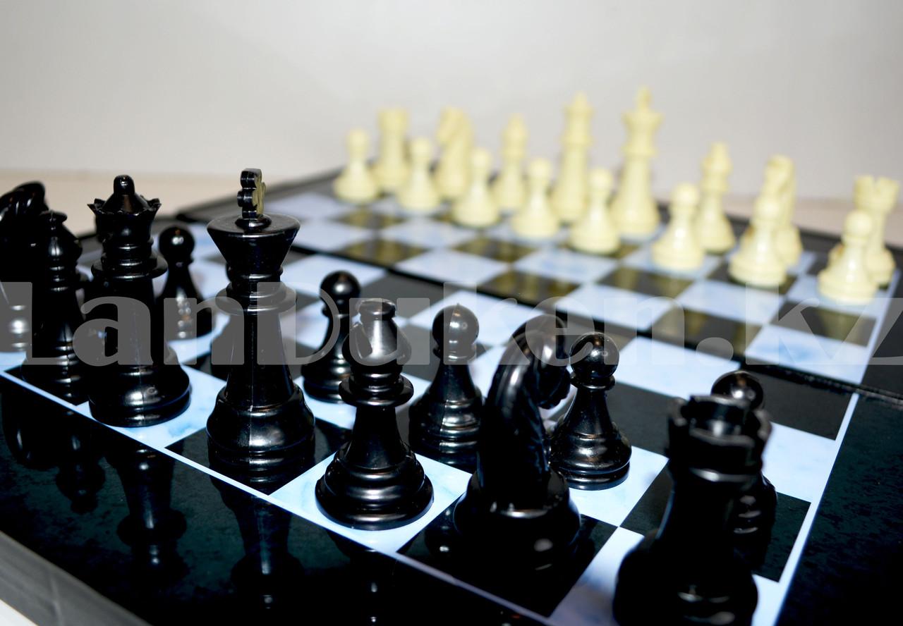 Шахматы, шашки, нарды 3 в 1 мраморный Gurng Ying 8899 35,5х31,5 см - фото 6